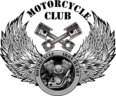 Vintage motorcycle label. Skull and Motor