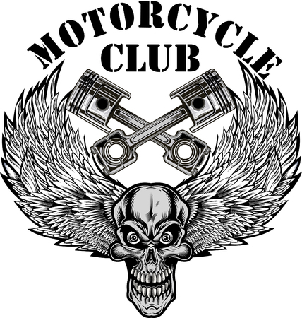 Vintage motorcycle label. Skull and Pistons