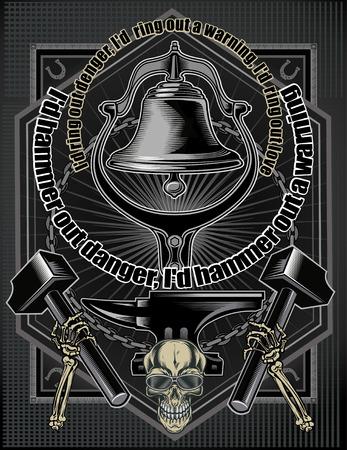 Bell and Hammer. Old Skull