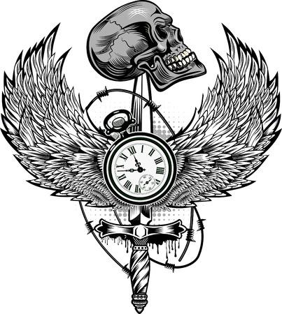 Death Before Dishonor. Skull dagger knife
