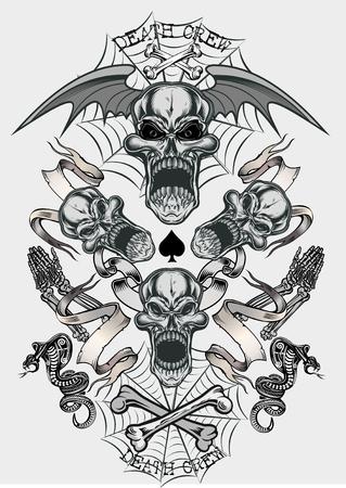 Skull with Snake. Tattoo Cobra Vektorové ilustrace