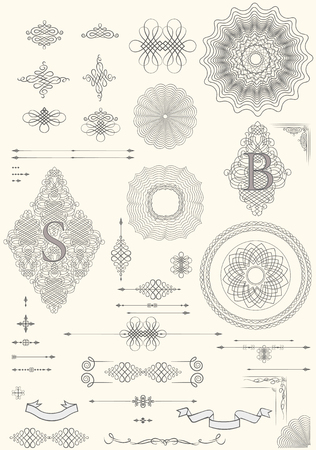 Graphic elements for design of catalogs. Vintage vector Set. Floral elements for design of monograms, invitations, frames, menus, labels and websites