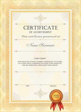 Certificat. Frontière de monnaie de diplôme. Modèle de certificat vierge de diplôme