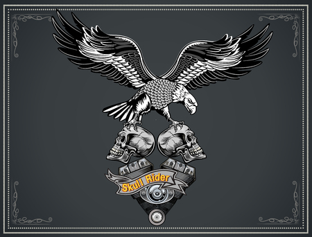 Vintage motorcycle label. Eagle and Motor