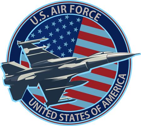 El símbolo de la Fuerza Aérea de los Estados Unidos con la bandera de los Estados Unidos.