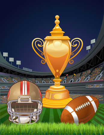 American  football cup, ball and helmet