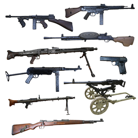 Guns: automatic weapon, machine gun and pistol 版權商用圖片