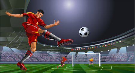 soccer or football player is kicking ball on stadium 向量圖像