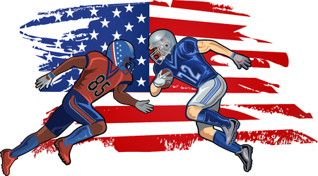 American football player and American Flag 向量圖像