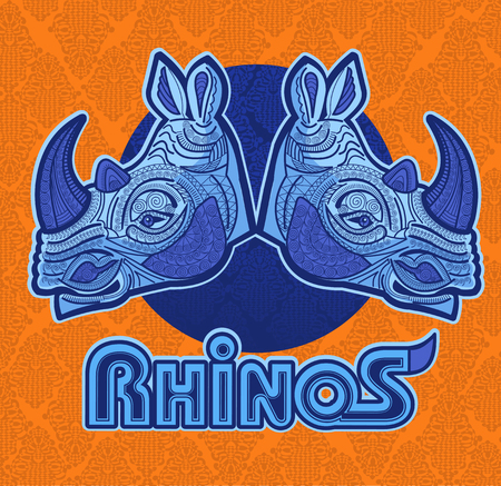 illustration of rhino. Color illustration