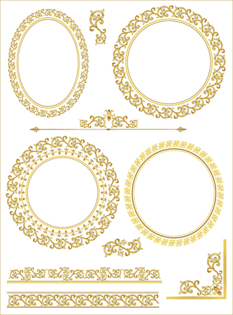Vintage vector Set. Floral elements for design of monograms, invitations, frames, menus, labels and websites. Graphic elements for design of catalogs and brochures of cafes, boutiques 向量圖像