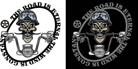 vintage motorcycle label old  skull