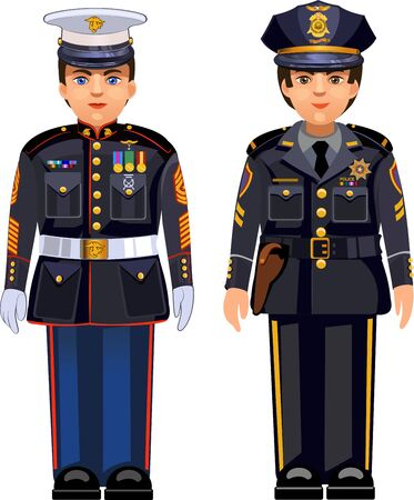 USA NYPD police officer American police cap and United States Marine Dress Blue Uniform