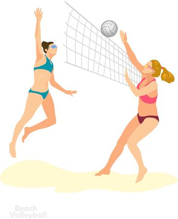 young girls playing beach volleyball 向量圖像