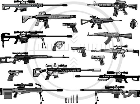 Modern  Guns: automatic weapon  and pistol 向量圖像
