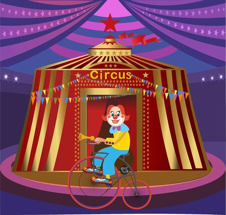 Circus tent and Happy Clown 向量圖像