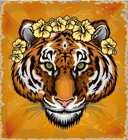 Beautiful face portrait of tiger. Striped fur coat