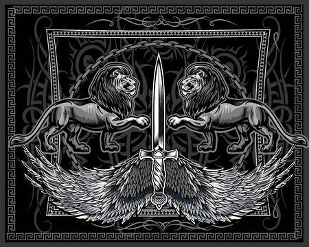 Two Big Male Lion. Face King Lion  Illustration