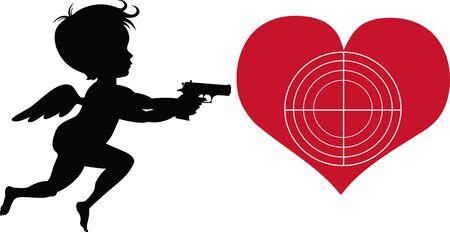 Cute Cupid Silhouettes with Gun