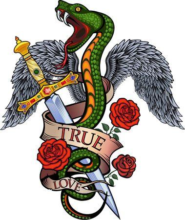 Viper snake. Colorful Tattoo design. snake with wings Illusztráció
