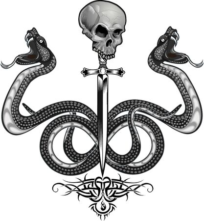 Serpente vipera. Disegno del tatuaggio colorato