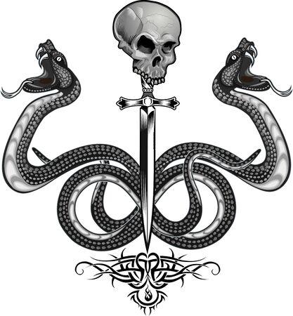 Viper snake. Colorful Tattoo design Illusztráció