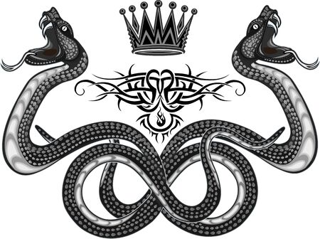Viper snake. Colorful Tattoo design Illustration