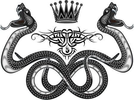 Viper snake. Colorful Tattoo design