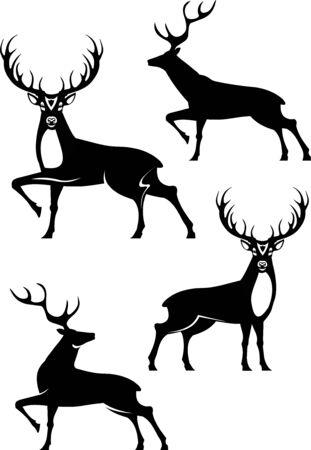 Wild deer. Deer silhouette set