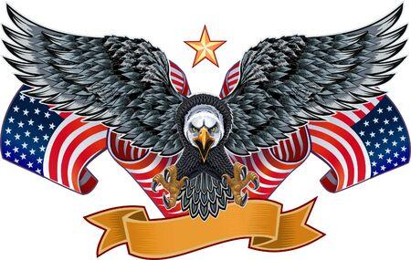 Aigle américain avec des drapeaux USA Vecteurs