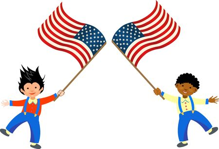 American children holding American flags 向量圖像