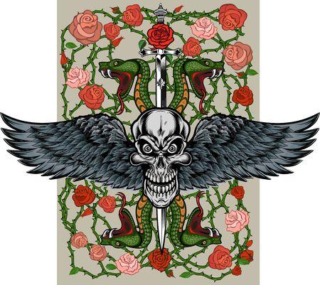Serpente vipera. Disegno del tatuaggio colorato Vettoriali