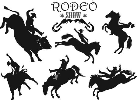 Mann, der ruckelnden Bronco im wilden Rodeo-Westen reitet