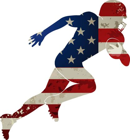 American football player and American Flag Illusztráció