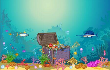 Cofre del tesoro en el fondo submarino