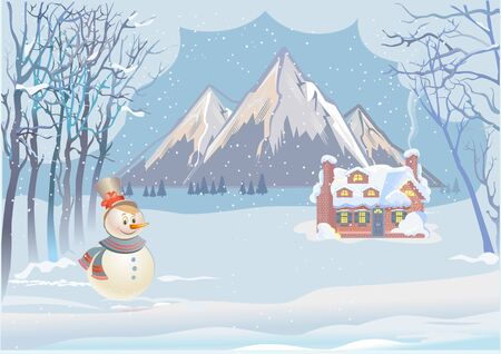 Cottage house and winter mountains at Christmas vacation Иллюстрация