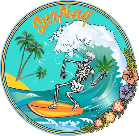 Skeleton surfer on the board ride the wave