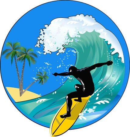 Surfer sur la vague de l'océan bleu