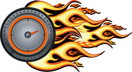 flaming speedometer for racing event