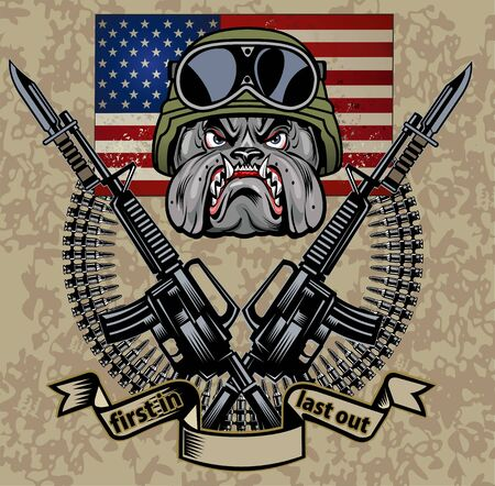 military Bulldog and crossing rifles
