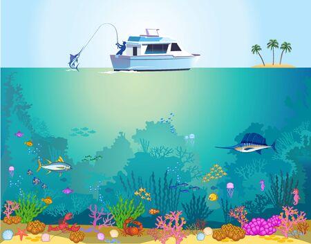 Fish swimming under the sea. Fisherman in a boat Illusztráció