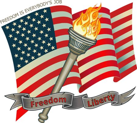 Freedom Liberty Flame Torch and American Flag