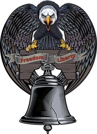 Liberty Bell à Philadelphie et American Eagle, Pennsylvanie isolés en blanc