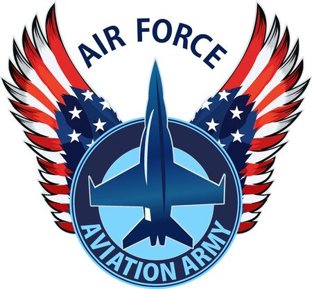 Eagle fighter jet plane. The symbol of the United States Air Force with the US flag