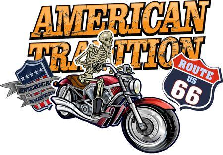 Motorbike and Skeleton Rider.  Vintage Biker Skull Emblem