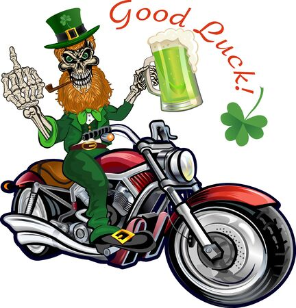 St. Patricks Day, Leprechaun with mug of beer on motorbike.