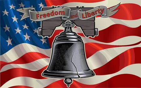Liberty Bell in Philadelphia and American Flag 일러스트