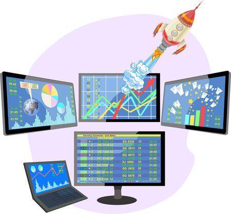 Stock market number on screen display. Technology rocket start up concept Ilustração Vetorial