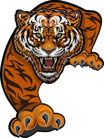 Angry Tiger Jump. Color Tattoo