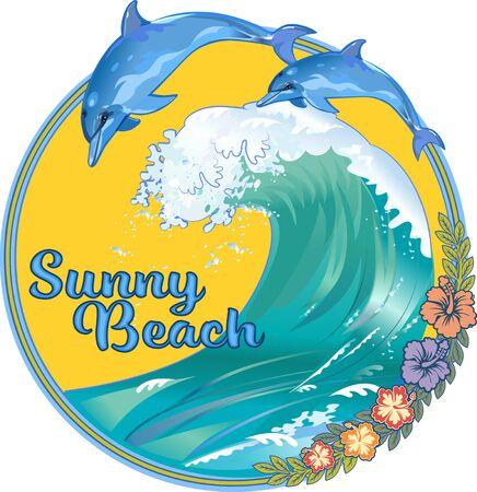 Delphine on Blue Ocean Wave